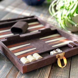 Vintage Backgammon Travel Set Reiss
